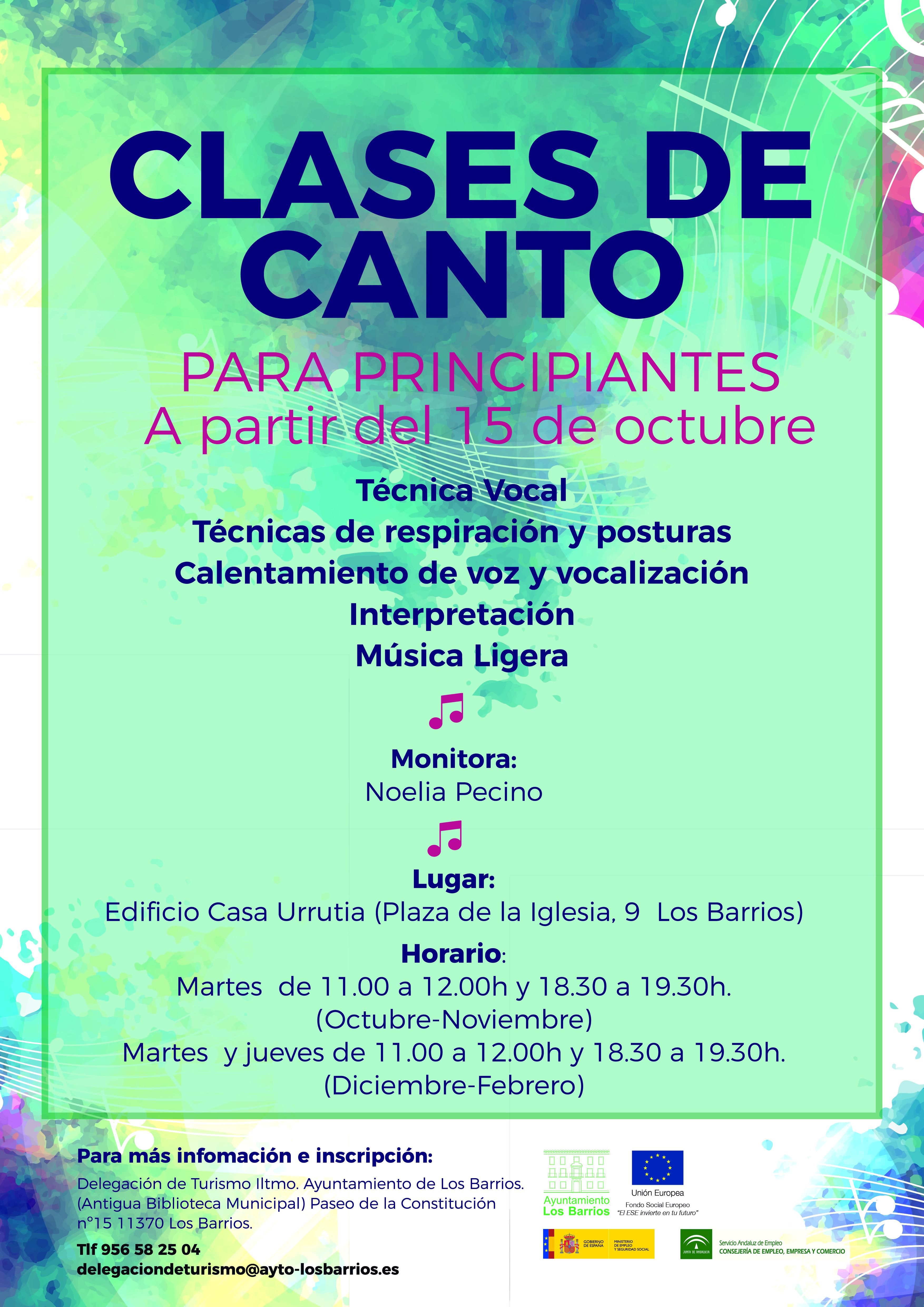 Turismo Los Barrios oferta un taller de clases de canto para principiantes
