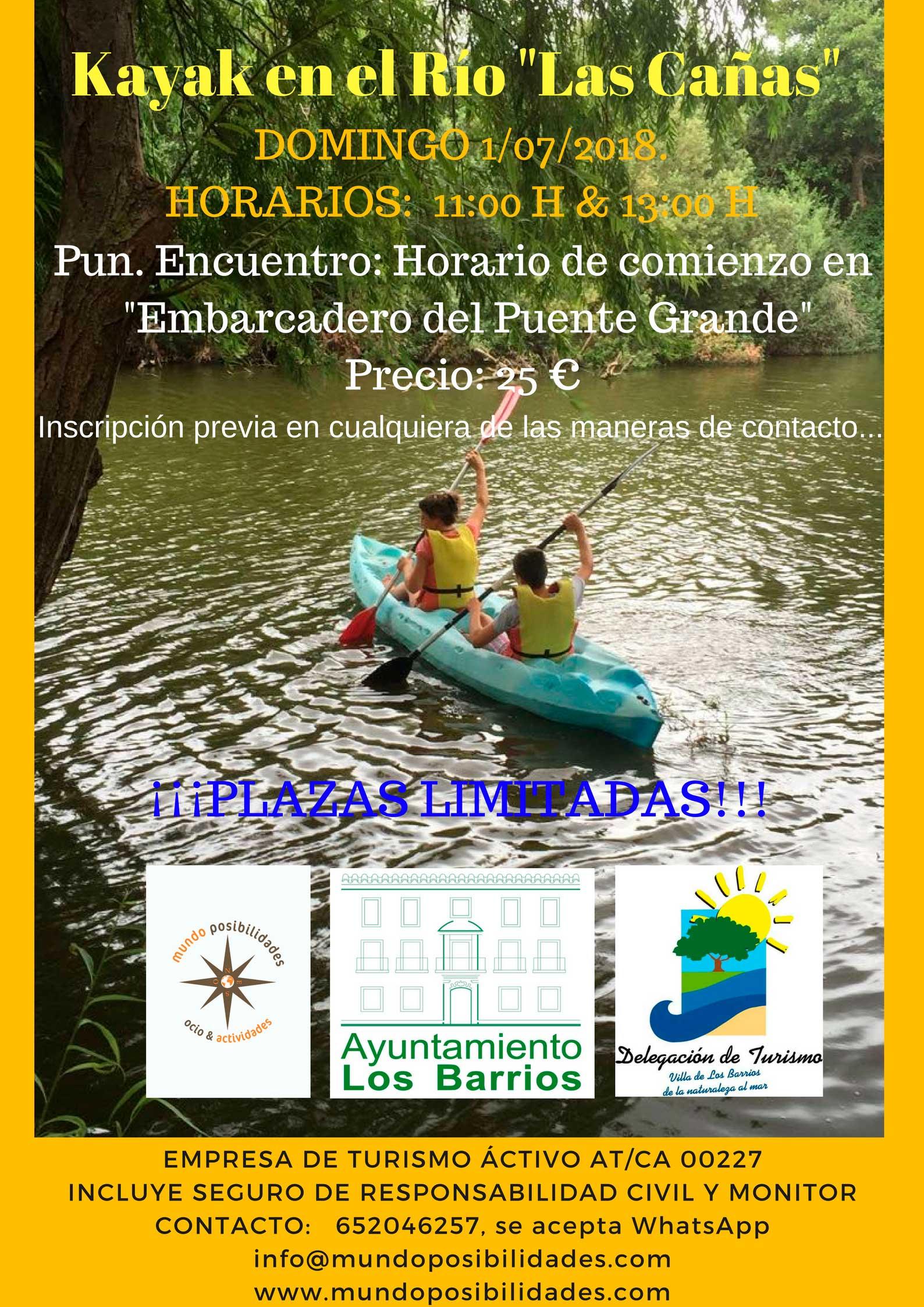 Kayak organizada por Mundo Posibilidades el próximo Domingo 1 de Julio