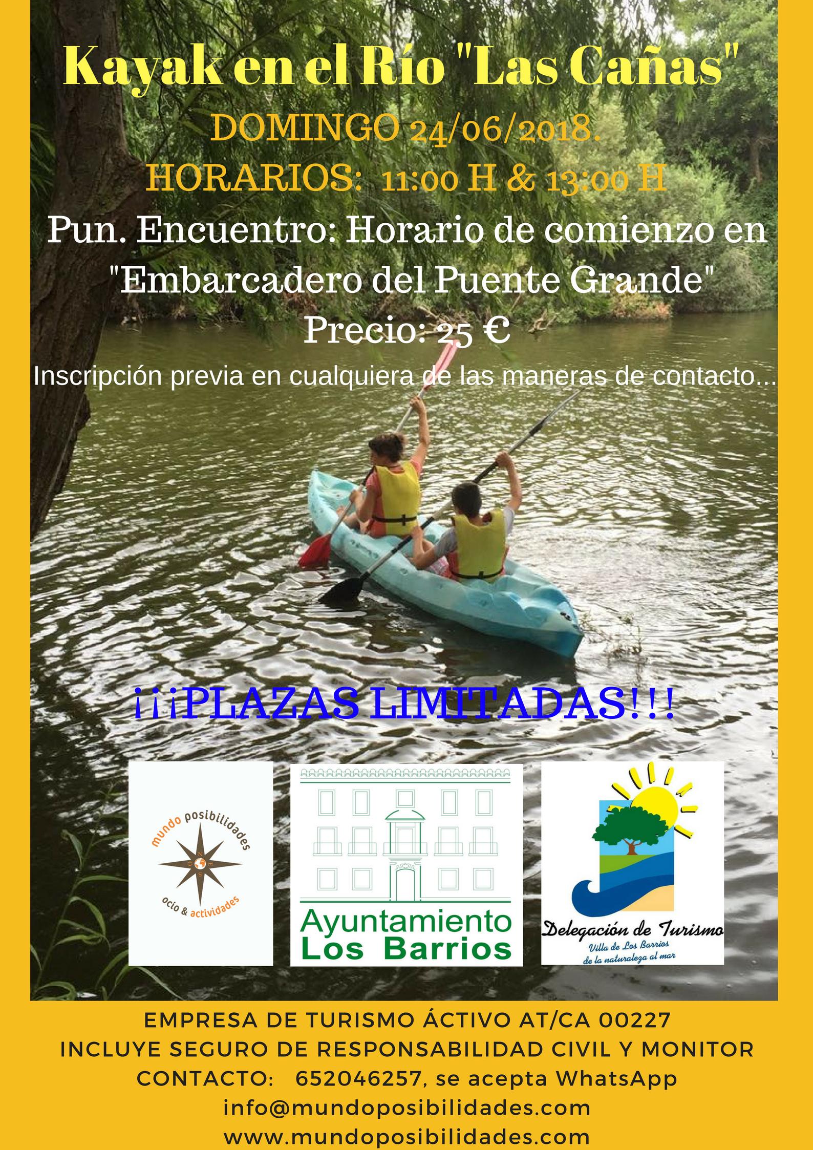 """Este Domingo 24 de junio kayak en el Río """" Las Cañas""""  organiza Mundo Posibilidades."""