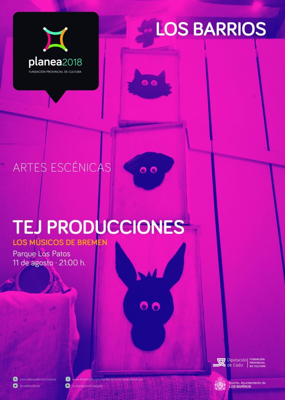 """Tej Producciones nos trae """"Los músicos de Bremen"""" el próximo 11 de agosto."""