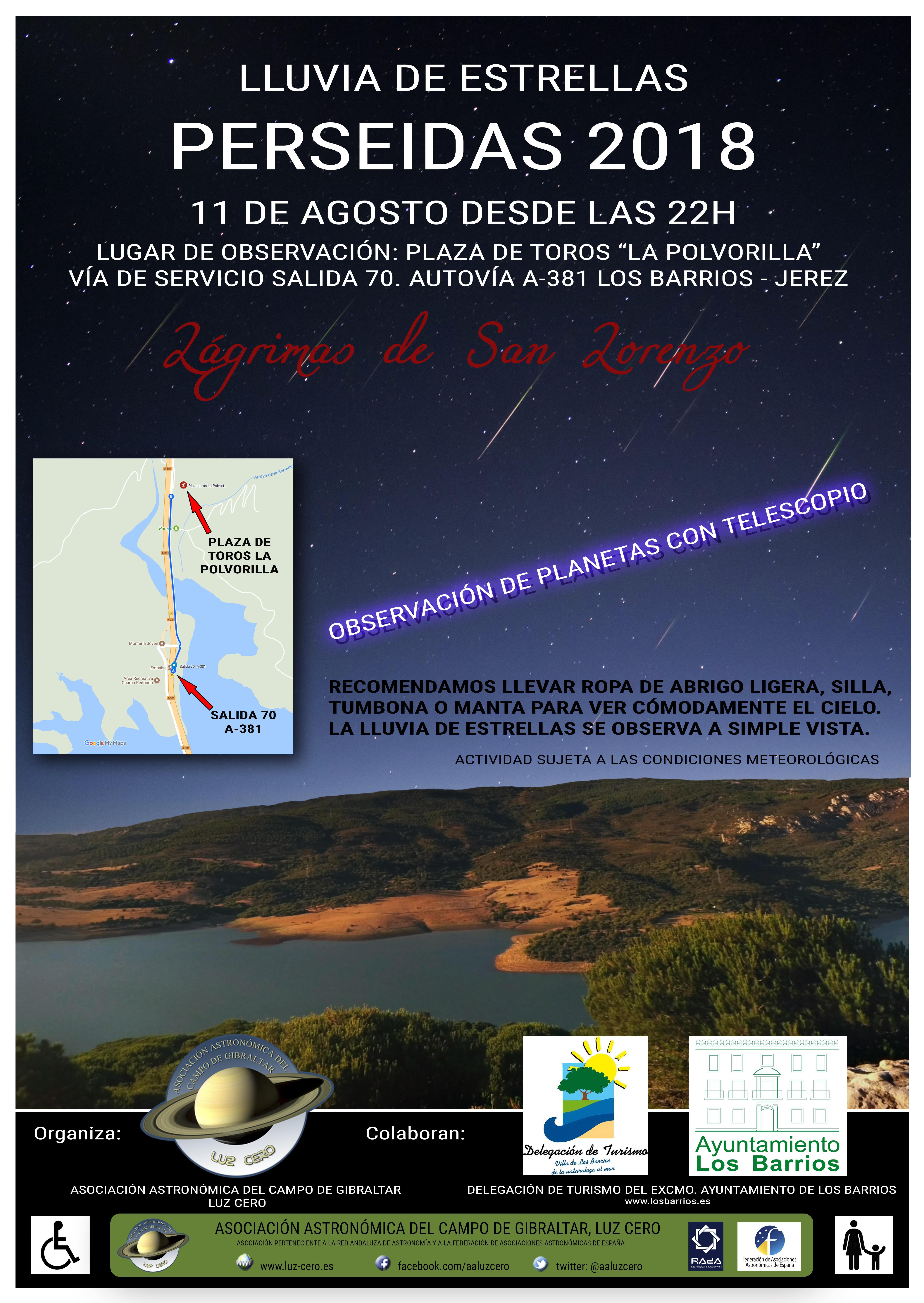 Turismo Los Barrios invita a observar la lluvia de estrellas 'Perseidas 2018' el próximo sábado