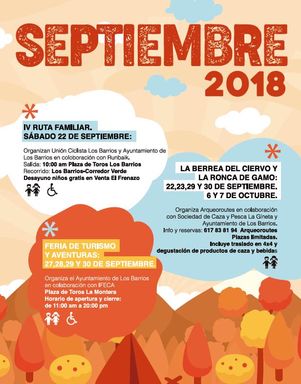 Programación de ocio y aventura del mes de septiembre 2018