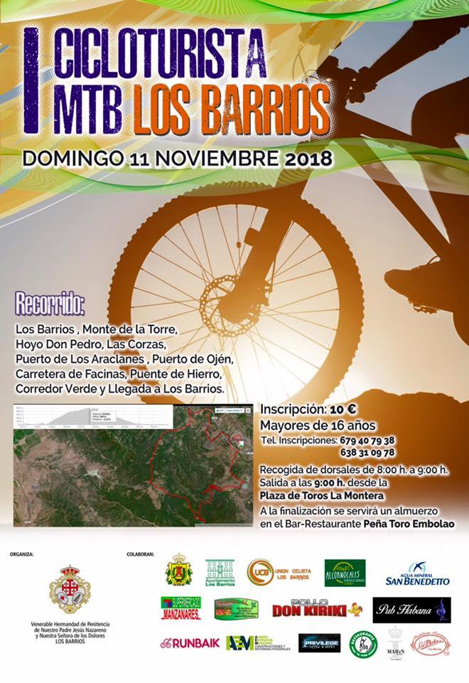La I Cicloturista MTB Los Barrios, el domingo 11 de noviembre