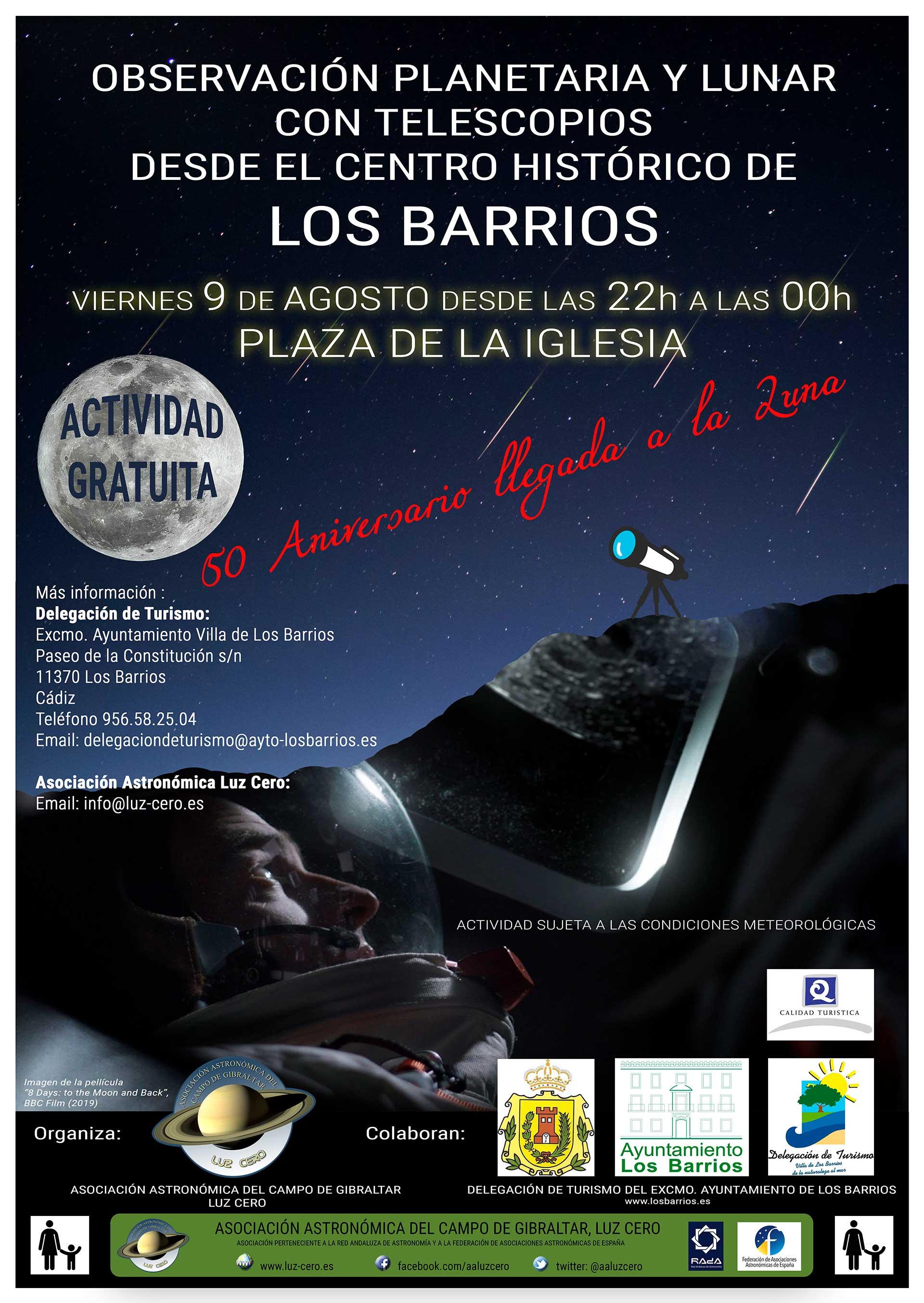 Observación Planetaria y Lunar con telescopios el 9 de agosto 2019